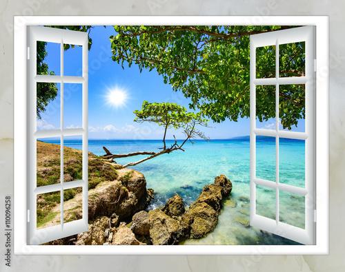Fototapeta open window view of the sea good weather summer