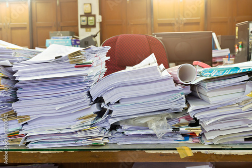 Poster Close up of business documents stack on desk , report papers stack