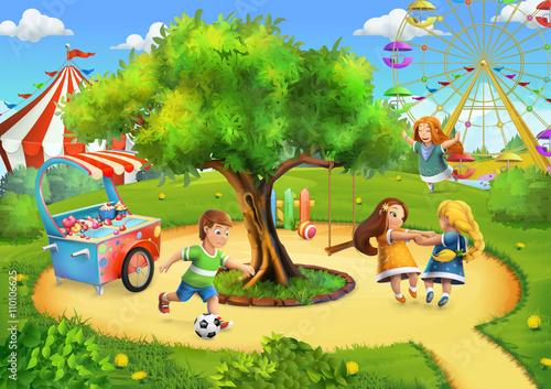 Naklejka Park, playground vector background