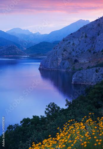 Fototapeta mountains lake in summer morning time