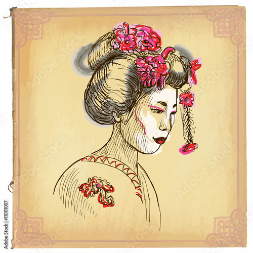 Geisha - An hand drawn vector sketch, freehand, colored line art