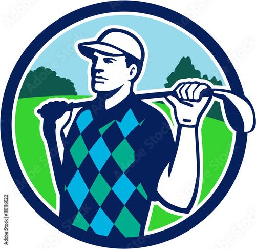 Fototapeta Golfer Golf Club Shoulders Circle Retro