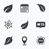 Leaf icon. Fresh natural product symbols.