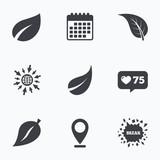 Leaf icon. Fresh natural product symbols.