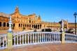 Ornate bridges over the canals of Plaza de Espana, Sevilla, Spain