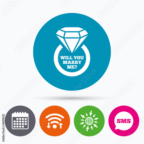 Fotobehang Auto Marry me ring sign icon. Engagement symbol.