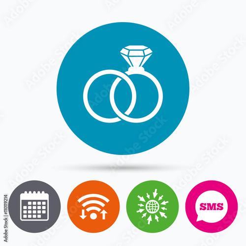 Fotobehang Auto Wedding rings sign icon. Engagement symbol.