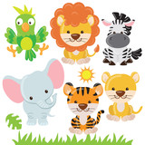 Jungle animals vector illustration