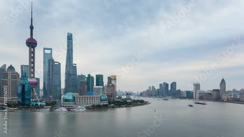 busy the huangpu river and beautiful shanghai skyline, dusk to night time-lapse © chungking