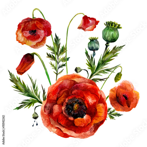Watercolor flowers bouquet - 110142262