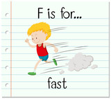 Flashcard letter F is for fast