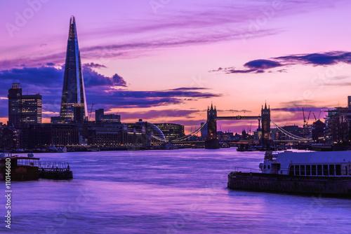 Monder London cityscape during sunset Poster