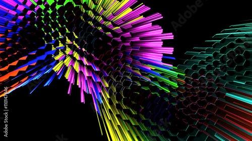 Abstracto de Explosion de Rayos de Colores. Con Canal Alfa © USantos