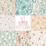 Set seamless floral pattern with dragonflies, butterflies, bees.