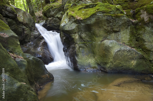 Deurstickers Canarische Eilanden waterfall and moss in spring