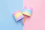 Fototapety Minimal style. Multicolored Cotton candy. Pastel blue and pink background