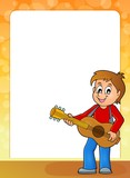 Stylized frame with boy guitar player