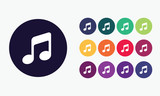Set 4 of music notes icons. Vector graphic design.