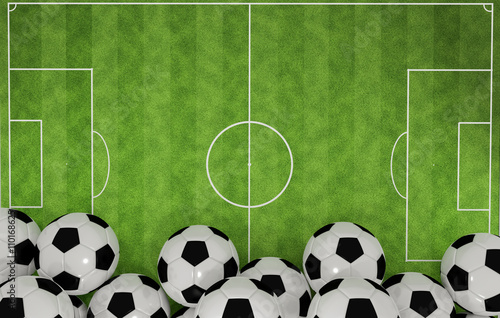 Footbal Stadium with Balls Poster