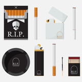 Set of lighters, cigarettes, match and ashtray in flat design. Element for World No Tobacco Day.Vector Illustration