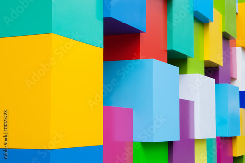 Poster Abstract colorful architectural objects