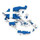 3D Illustration Map Outline of Greece with the Greek Flag