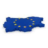 3D Illustration Map Outline of Bulgaria with the European Union Flag
