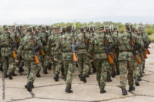 Poster Bulgarian soldiers in uniforms with Kalashnikov AK 47 rifles