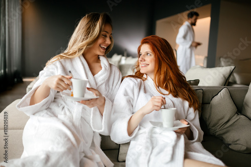 Women relaxing and drinking tea