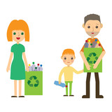 Family recycling plastic bottles. Flat styled characters isolated. Vector illustration.