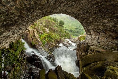 Fototapeta Waterfall in Snowdonia National Park,Wales,United Kingdom