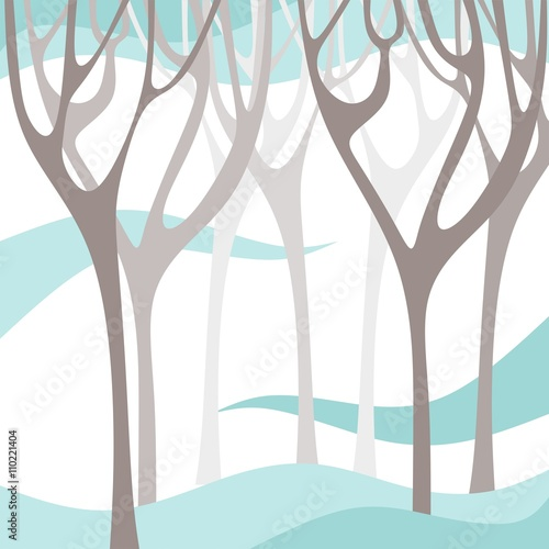 Winter forest. Tree branches silhouettes. Vector illustration. © Happy Dragon