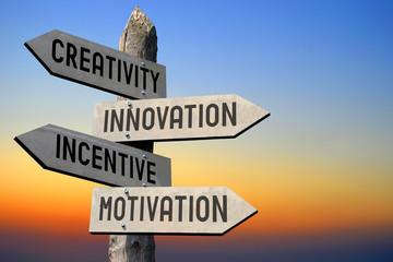 Creativity, innovation, incentive, motivation signpost © 3D generator
