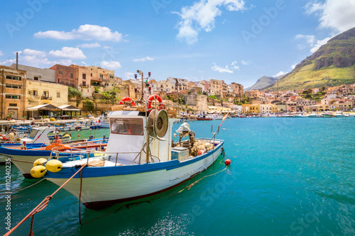 Small fishing village with boats at Sicily, Castellammare, Italy Poster