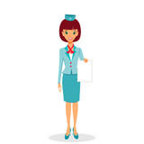 Cartoon flight attendant in uniform holding blank sheet of paper