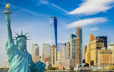 Fototapety new york cityscape, tourism concept photograph statue of liberty, lower manhattan skyline