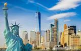 Fototapety new york cityscape, tourism concept photograph statue of liberty, lower manhattan skyline