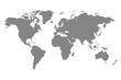 Grey blank world map.
