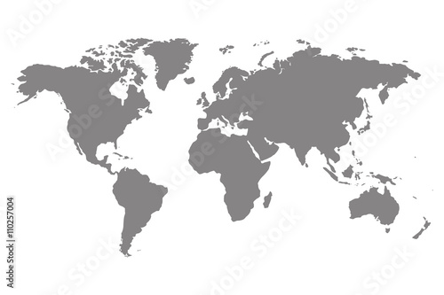 Fototapeta Grey blank world map.