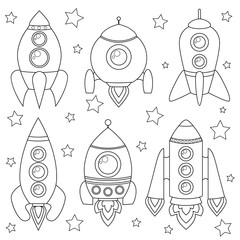 Cartoon spaceship. Black and white illustration for coloring book