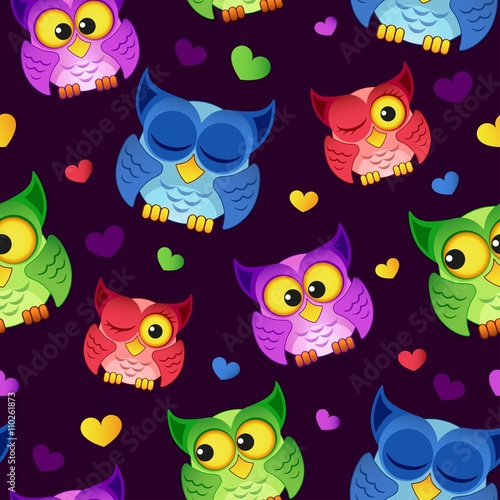 Foto op Aluminium Uilen cartoon Seamless pattern with owls and hearts