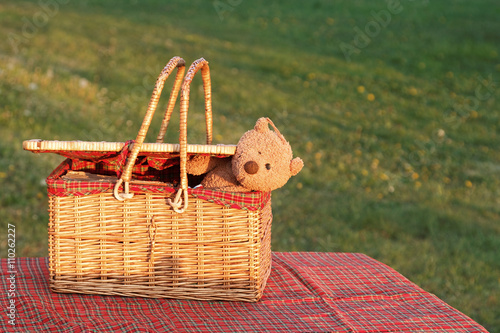 Picnic basket  on the table Poster