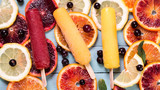 Colorful popsicles with fresh fruits. Summer refreshing icecream