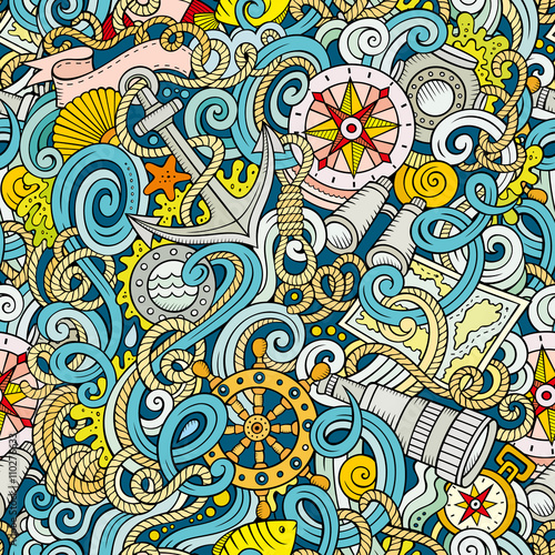 Fototapeta Cartoon hand-drawn nautical doodles seamless pattern