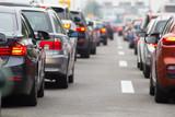 Fototapety Cars on road highway in traffic jam
