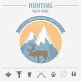 Hunting logo and badge template. Flat design. Vector illustratio