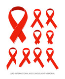 Set of flat AIDS Awareness red vector ribbons, concept signs of AIDS memorial day isolated on white. AIDS ribbons icons. Various awareness ribbons collection