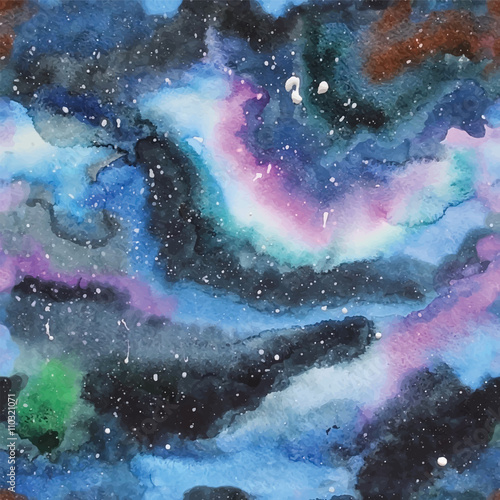 Watercolor galaxy illustration. Seamless pattern. - 110321071