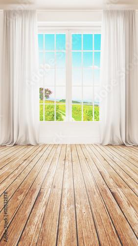 Finestra luminosa con vista campagna e parquet - 110332878
