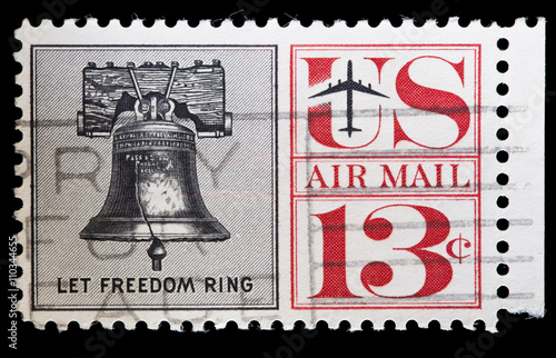 Poster United States used postage stamp showing the Liberty Bell